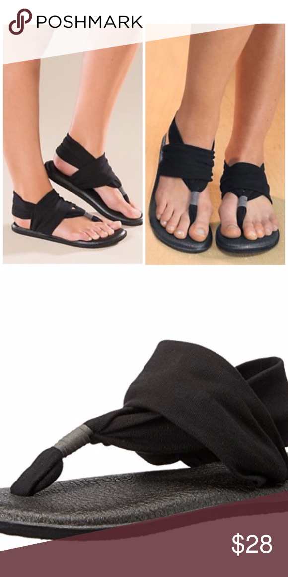 916bb6412c5 SUPER COMFY Sanuk Yoga Sling Black Flip Flop Like walking on a plush yoga  mat -
