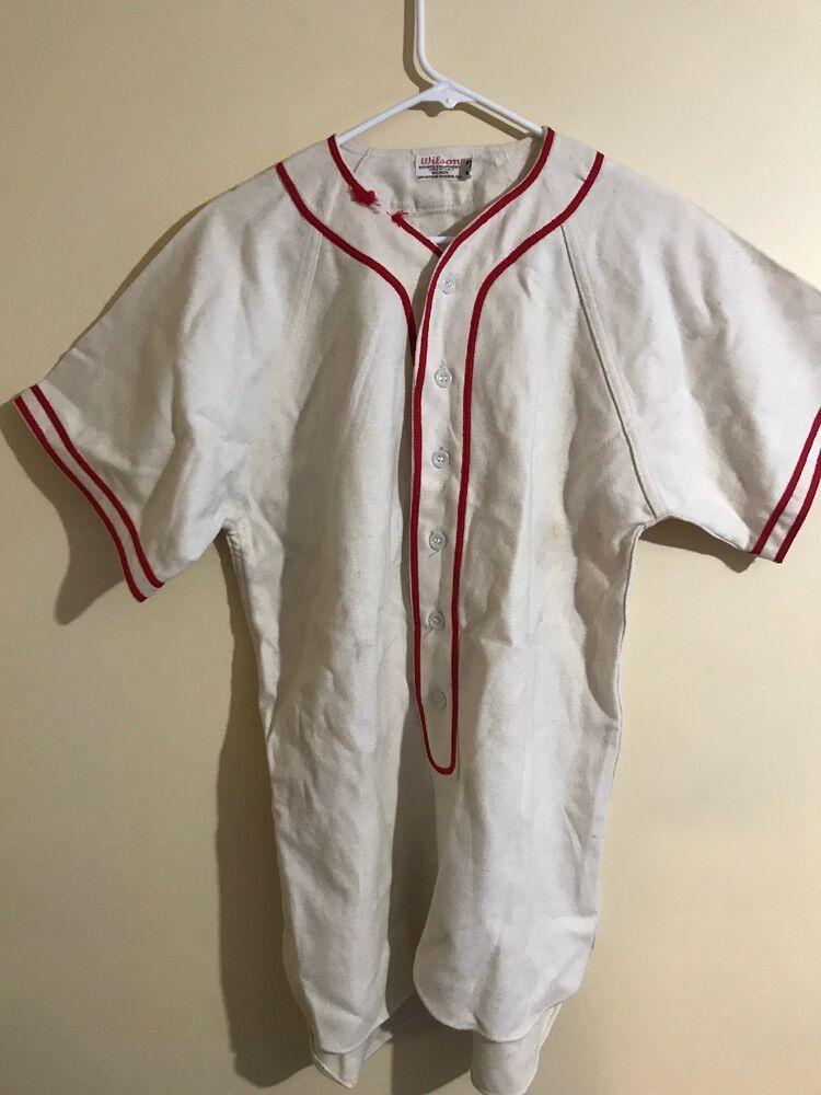 Vtg 1930s 1940s Wilson Baseball Jersey Wool No Logo Or Number Vintage Size 32 Baseball Jerseys Jersey Baseball