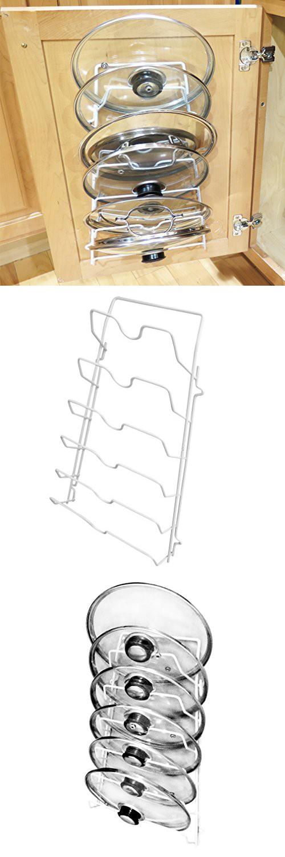 Evelots Cabinet Door Lid Rack Organizer Storage Shelf, Holds 6 Pan Covers