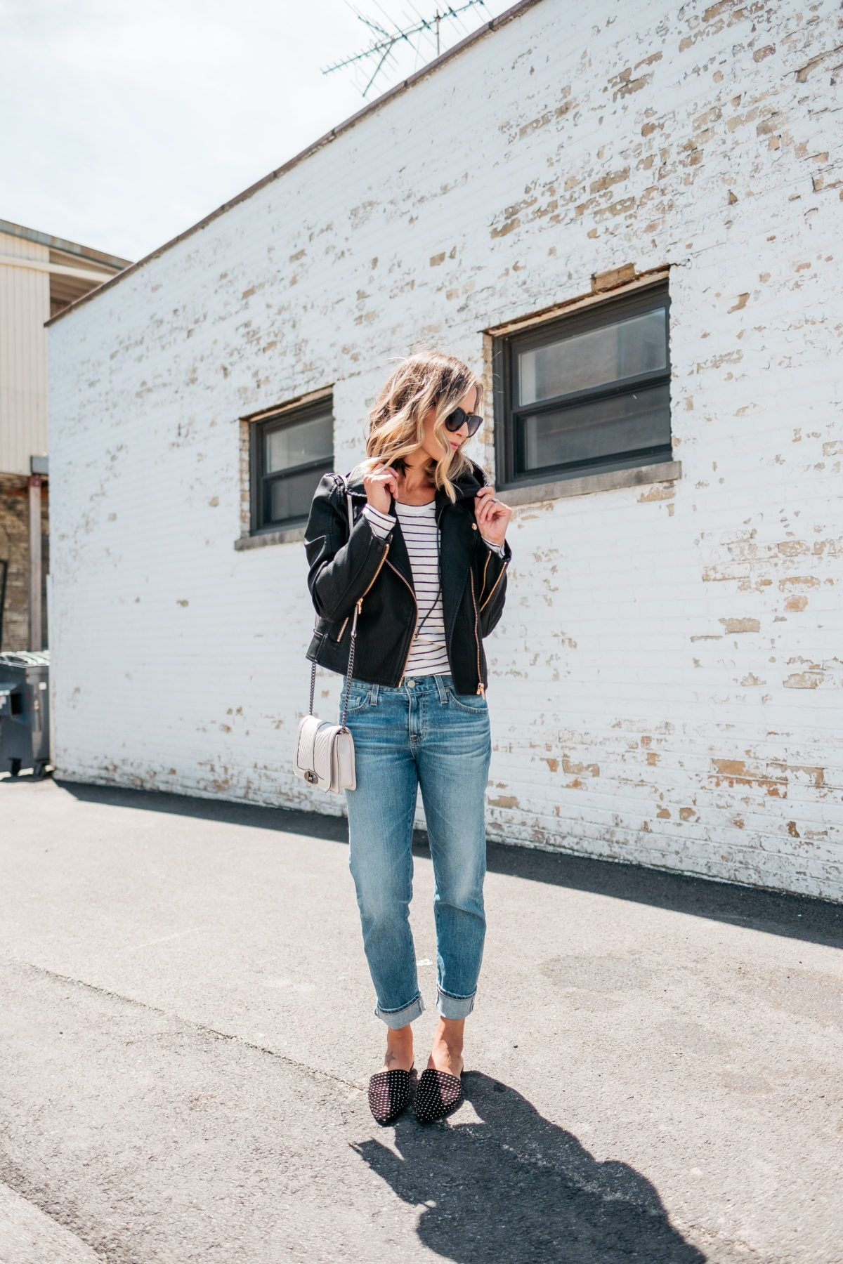 175beb34915 Style blogger Suzanne of My Kind Of Sweet shares 3 ways to style a moto  jacket
