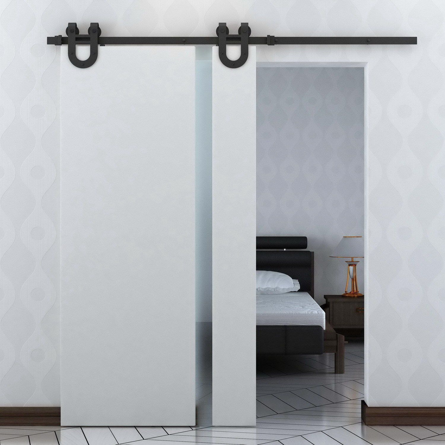 Features all hardware for setting up the sliding barn door