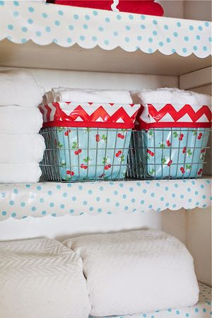 Scalloped Oilcloth Shelf Liner Tutorial At Home With Modern June Giveaway Oil Cloth Shelf Liner Liner Tutorial