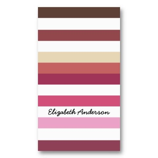 Pink and Coral Stripes In Hot Fall Fashion Colors Business or Personal contact card #businesscards #stripes #pink