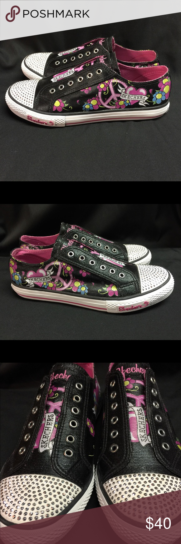 Skecher Sz 9.5 Peace Love Heart  & Flowers Tennis Athletic  Fashion Trendy Shoes
