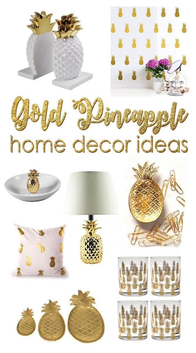 à couper le Souffle  Mot-Clé 32 Beautiful Gold Pineapples for Home Decor   Pineapple room decor ...