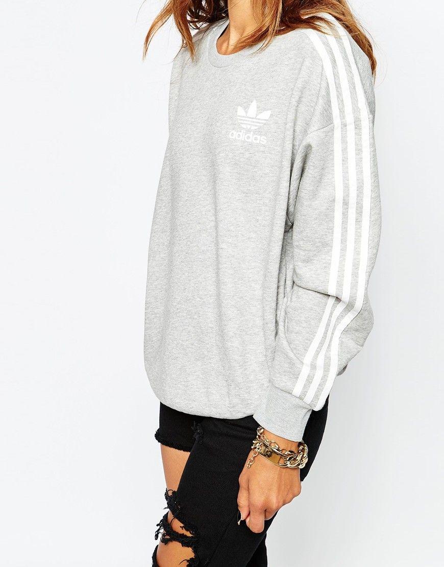 Immagine 3 Di Adidas Originals Felpa Girocollo Con 3 Righe Adidas Sweatshirt Outfits Adidas Outfit Women Adidas Sweatshirt Women [ 1110 x 870 Pixel ]