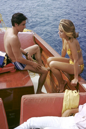 Alain Delon and Jane Fonda on a boat on the French Riviera filming 'Les Félins', 1963.
