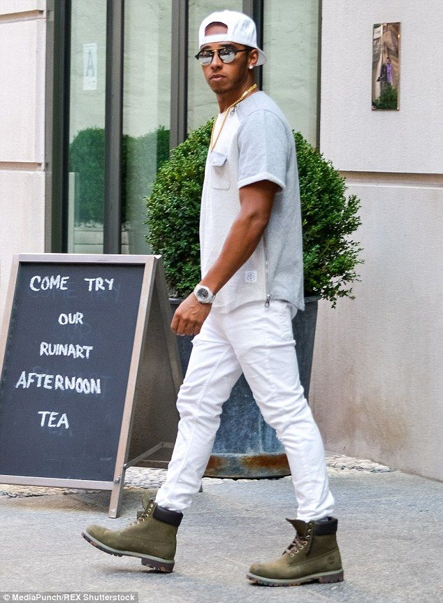 0083574ddcf6 Lewis Hamilton cuts a casual figure a few blocks from Rihanna ...