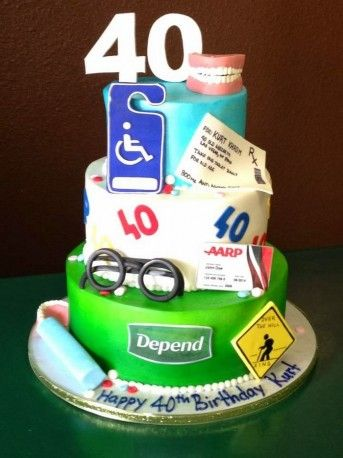 Funny 40th Birthday Cakes Birthday cakes for men Cakeandlyriccom