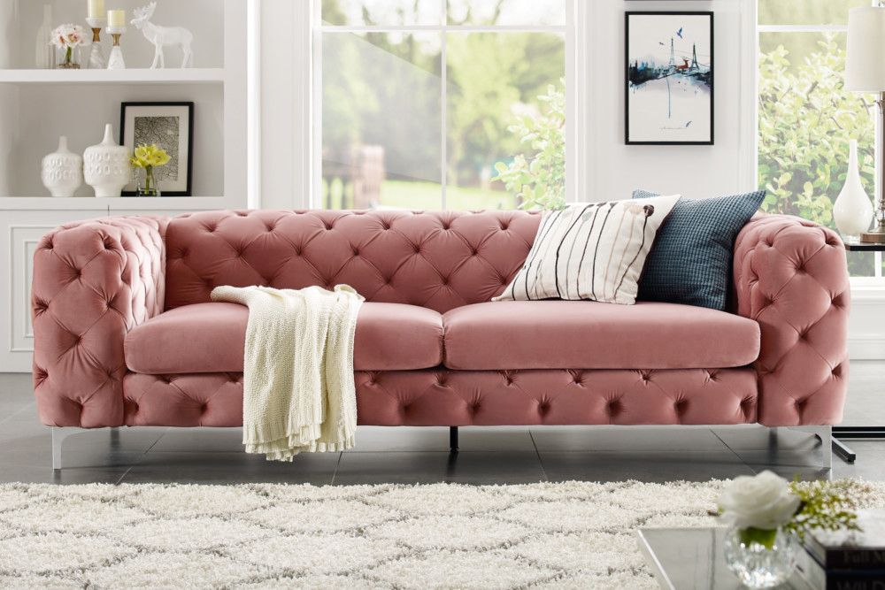Elegantes Chesterfield 3er Sofa Modern Barock 240cm Altrosa Samt Riess Ambiente De In 2020 Mit Bildern Modernes Sofa 3er Sofa Chesterfield Ecksofa
