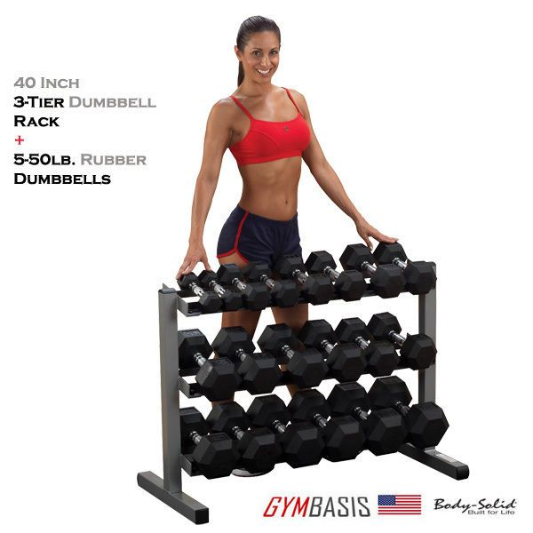 New Body Solid Gdr363 Rack With 5 50lb Rubber Dumbbells Work Out Wear Dumbbell Rack Dumbbell Set Dumbbell Set With Rack