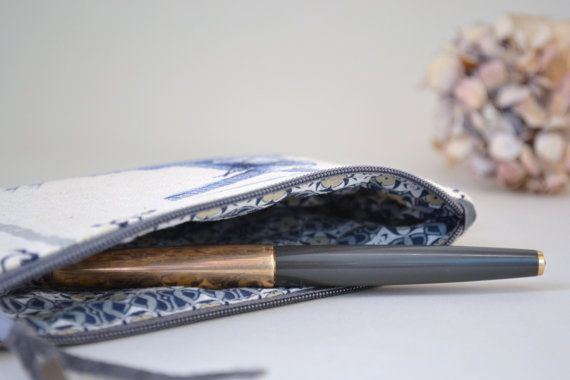blue dutch mill zipper pouch  pencil case by redstitchlab on Etsy, €20.00