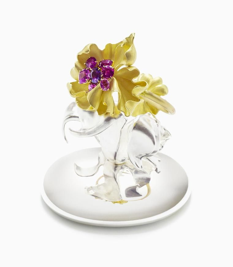 Victoire de Castellane Honey Florem Peach Frutti featuring yellow gold, opal, diamonds and coloured lacquer