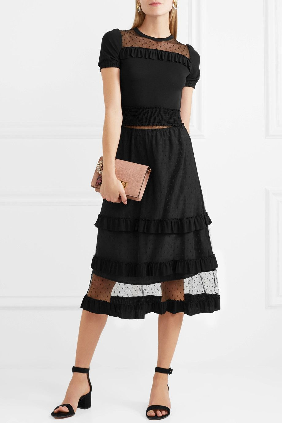 Point Desprit And Ruffled Stretch-jersey Midi Dress - Black Red Valentino xemAx