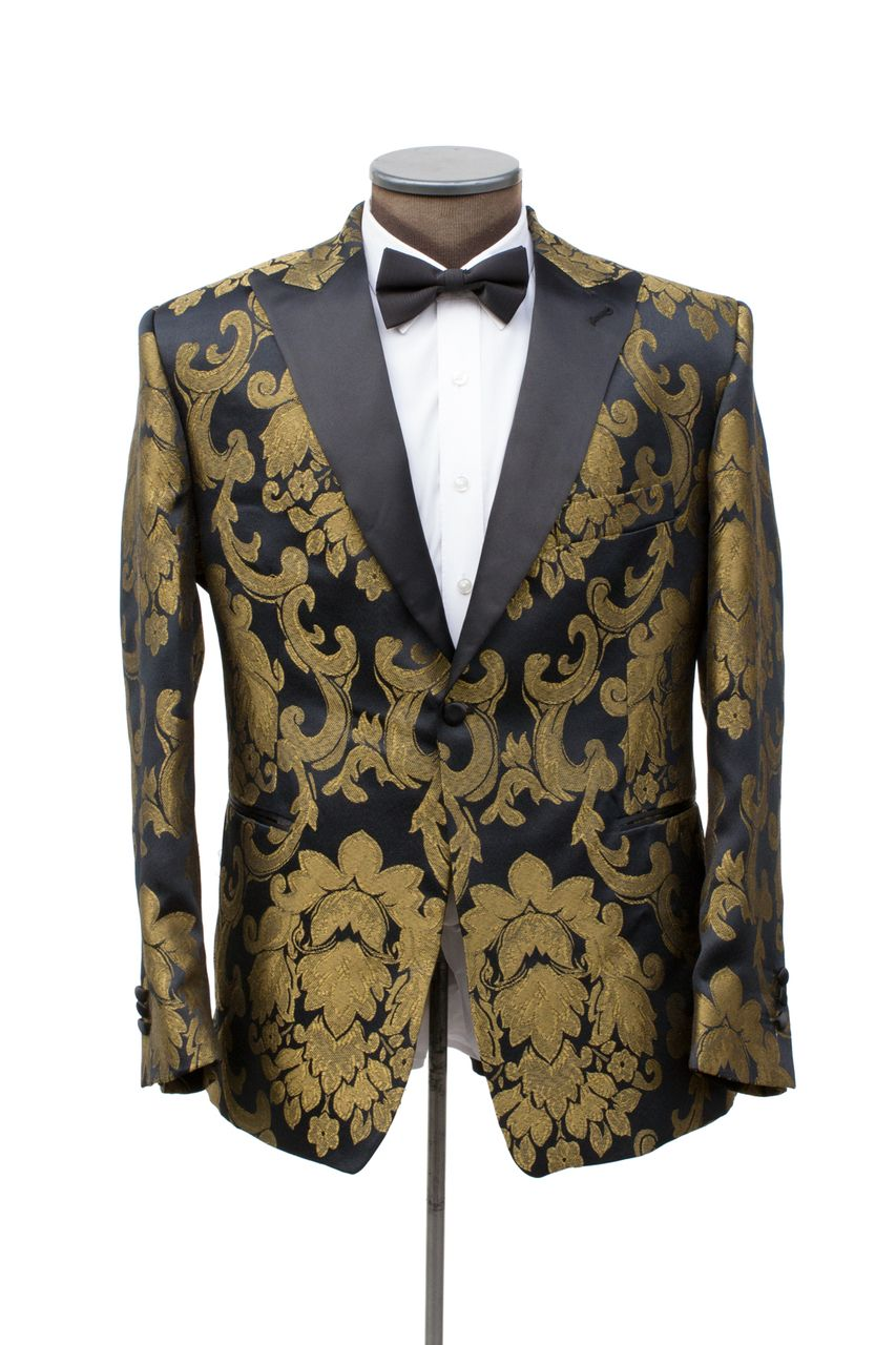 6bd4ca11ae16 The Manhattan Black & Gold Brocade Dinner Jacket - Cabaret Vintage ...