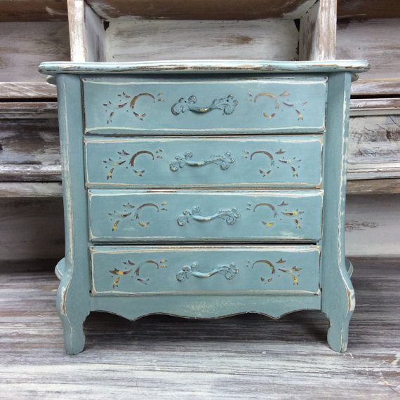 PRETTY JEWELRY BOX Distressed Wood Jewelry Box Blue Ornate Jewelry
