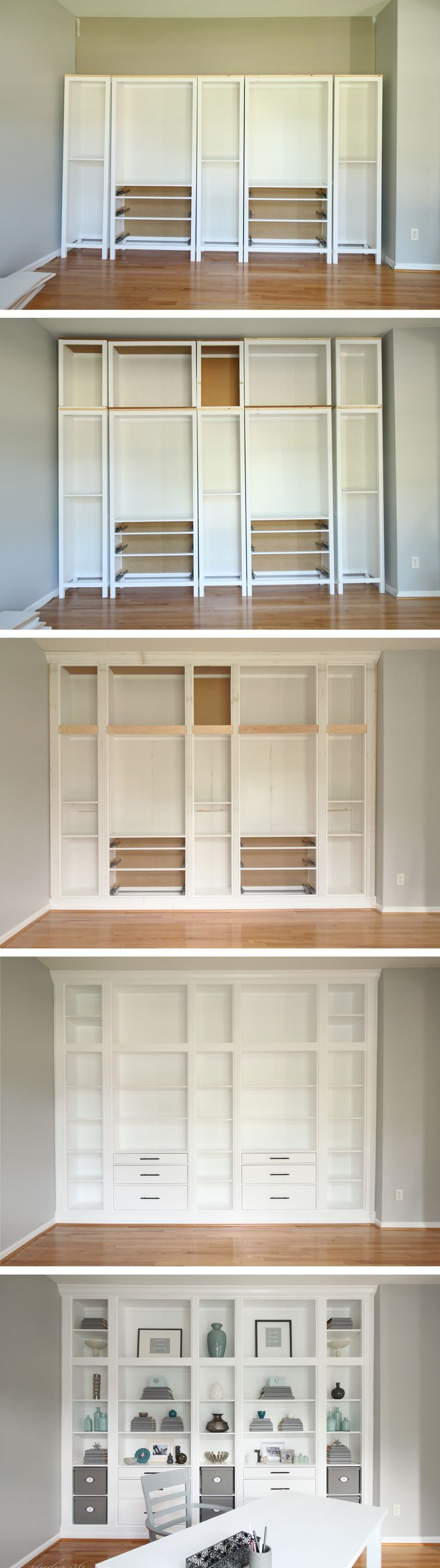 DIY Built in Bookcases made with Ikea Hemnes Furniture, Custom Built in Storage, Ikea Hack