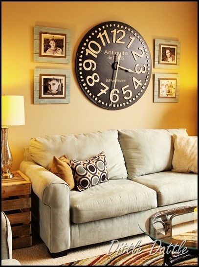 Living Room Wall Clocks Open Kitchen And Love This Clock She Has A Great Tutorial For The Picture Frames That Made