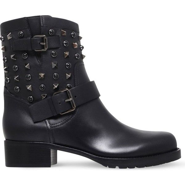 VALENTINO Rockstud Rolling Noir leather biker boots ($1,220) ❤ liked on  Polyvore featuring shoes