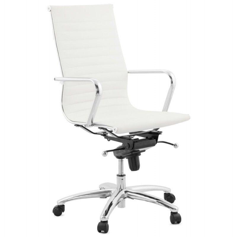Fauteuil De Bureau Rotatif Amen En Polyurethane Blanc Fauteuil Bureau Chaise De Bureau Blanche Chaise Bureau