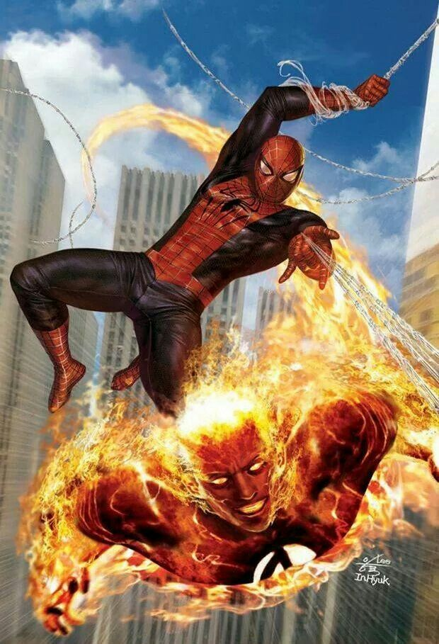 Spiderman and the Human Torch