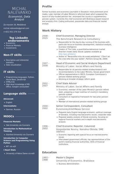Economist Resume Samples Visualcv Resume Samples Database Resume Resume Examples Business Analyst Resume