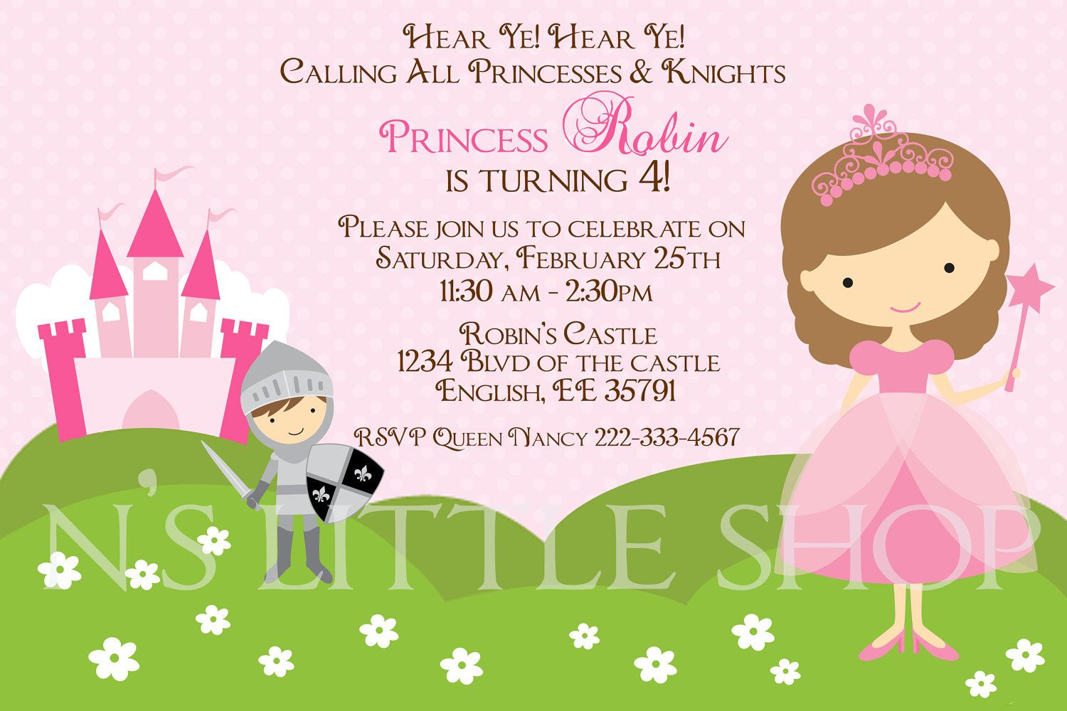 Princess and knight invitation card for a girl customize princess and knight invitation card for a girl customize printable 1000 via stopboris Choice Image