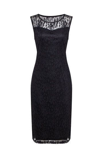 Black Sleeveless Body-Conscious Lace Midi Dress from mobile - US$27.95 -YOINS
