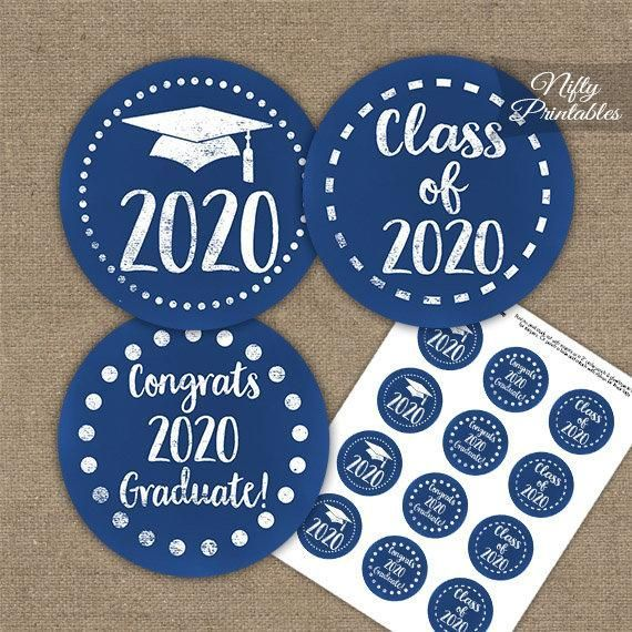 Photo of Graduation Cupcake Toppers – Printable 2020 Graduation Decorations – Blue Class of 2020 Grad …