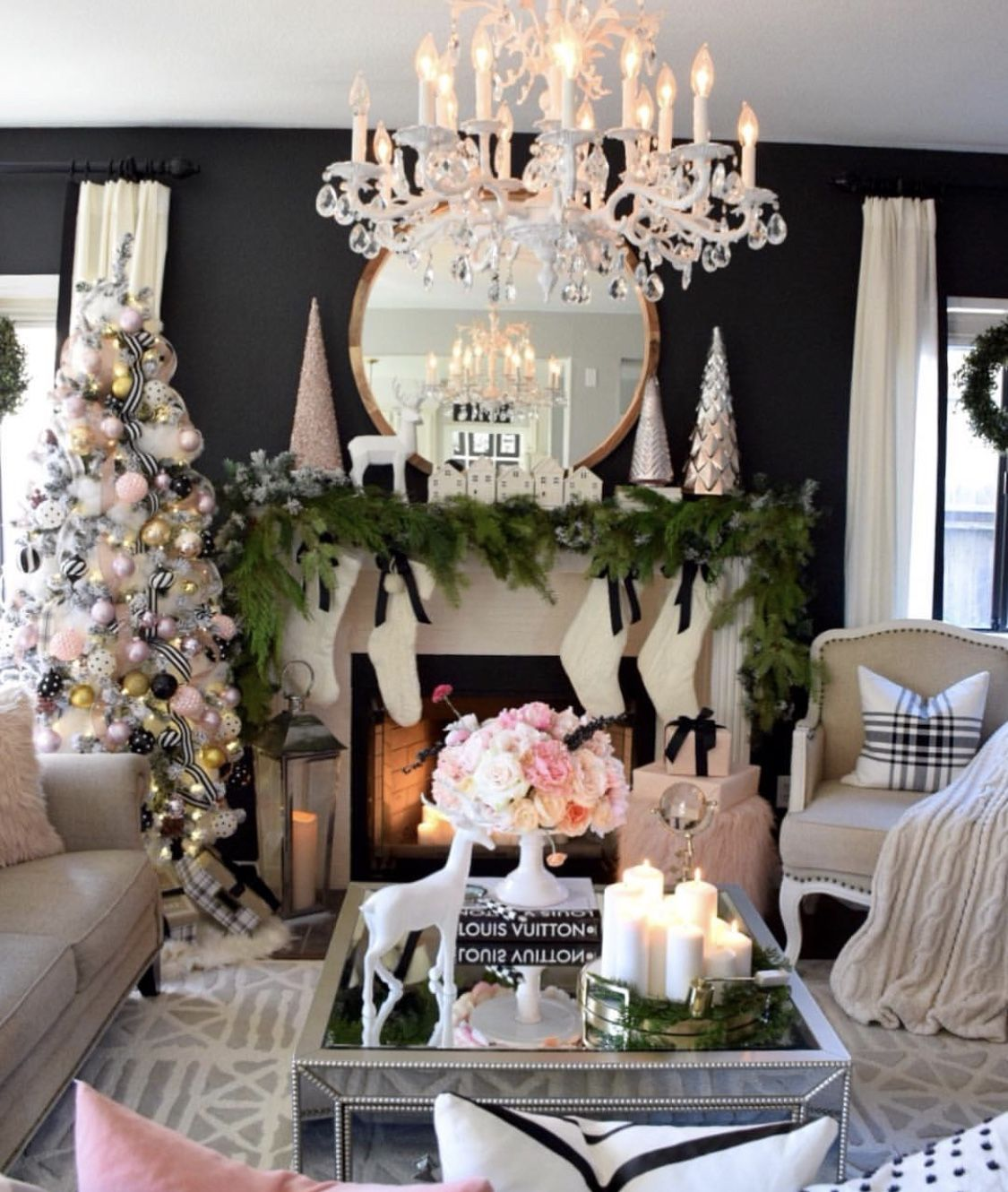 Pink Christmas In A Black And White Room Elegant Christmas Christmas Home Cute Christmas Decorations