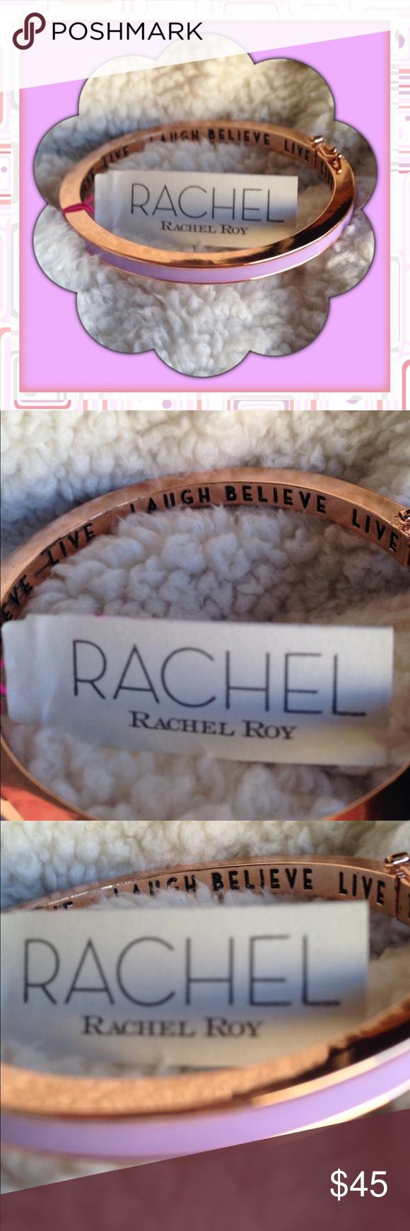 Rachel Roy Idiom Bangle Bracelet Lilac So cute! Hinged bangle bracelet. Lilac and gold with Live laugh believe in scribed inside Rachel Roy Jewelry Bracelets