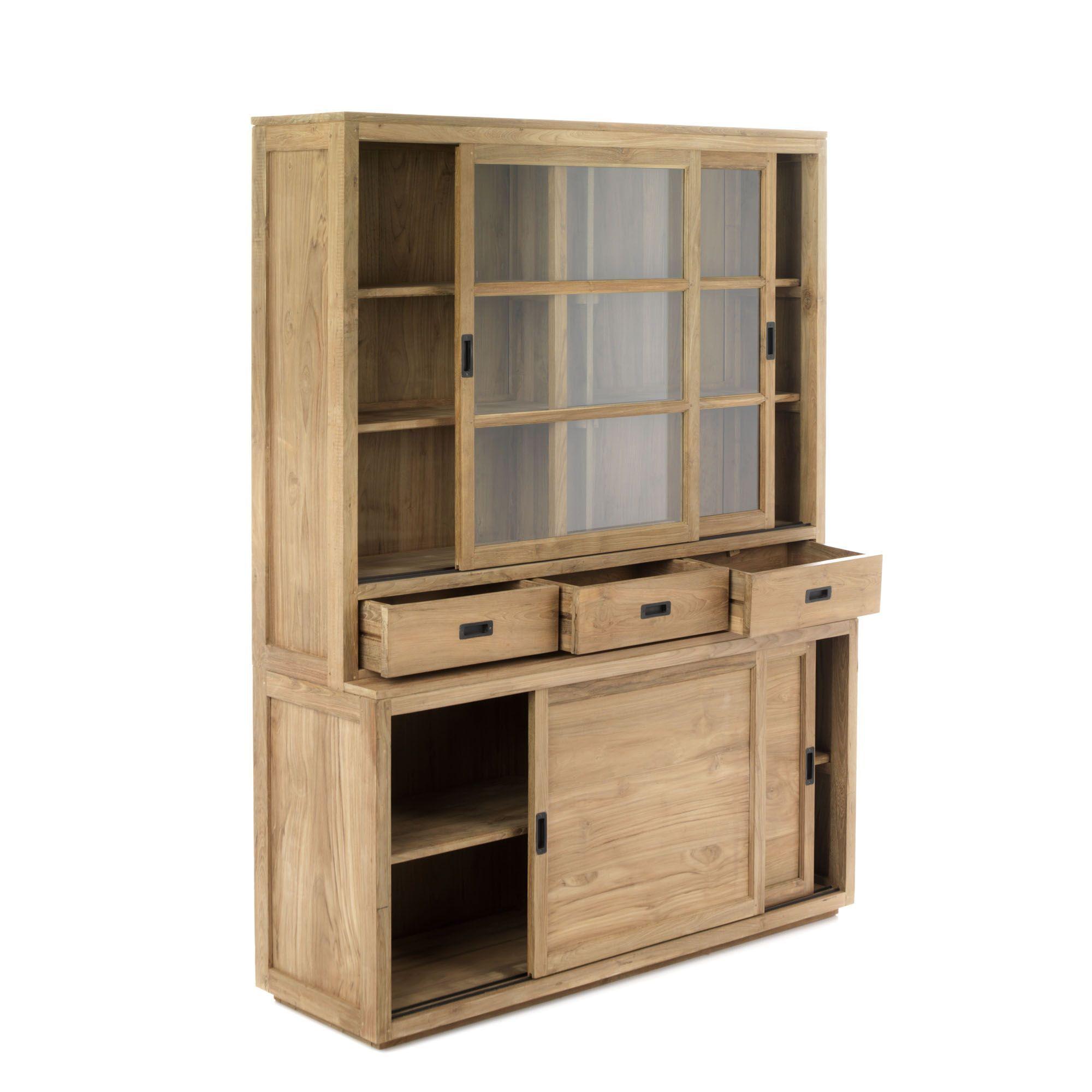 vaisselier en teck avec portes coulissantes tiroirs et vitrines 160cm livr mont naturel. Black Bedroom Furniture Sets. Home Design Ideas