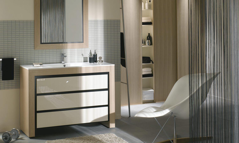 meuble 3 tiroirs longueur 100 cm avec plan vasque blanc polaire et