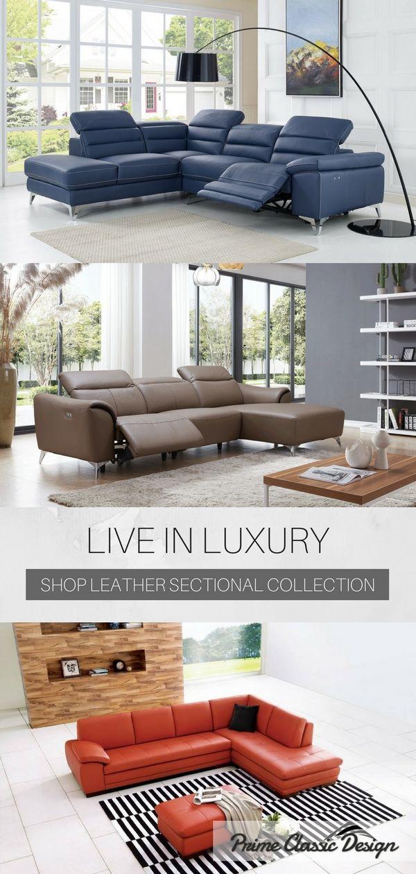 Sectional sofa in full top grain Italian