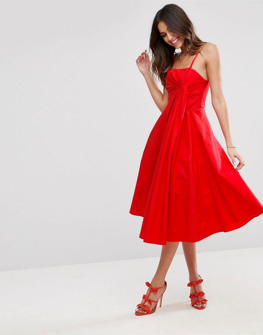 462f61ad7b ASOS Premium Extreme Fold Midi Prom Dress - Red