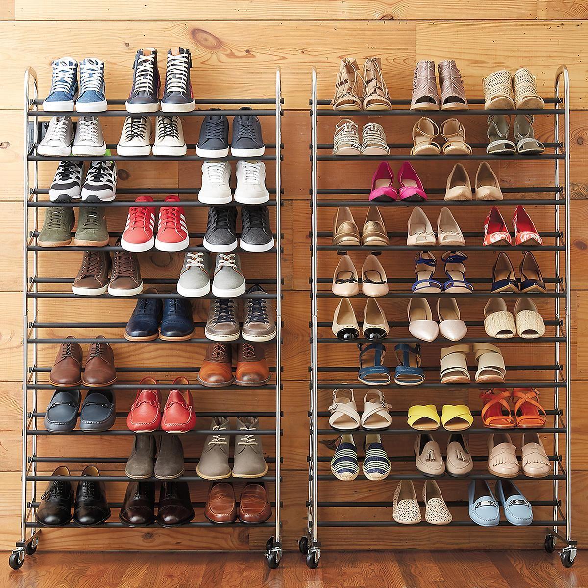 Chrome Metal 10 Tier Rolling Shoe Rack Shoe Storage Shoe Organizer Diy Shoe Rack
