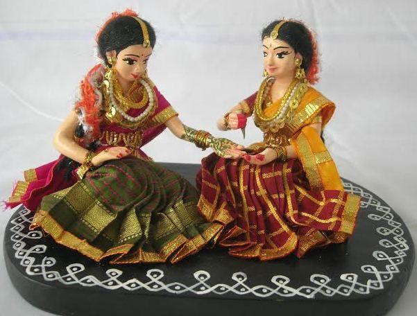 Bride Mehendi Golu Dolls Papiermache Dolls Wedding Set