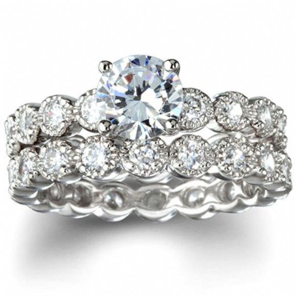 Felicity S Heirloom Style Round Imitation Diamond Wedding Ring Set Cubiczirconia