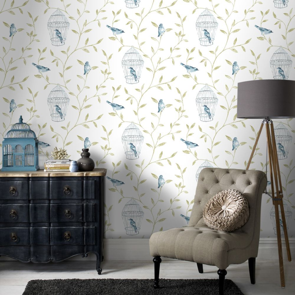 Fresco Song Bird Teal Wallpaper by Graham and Brown love