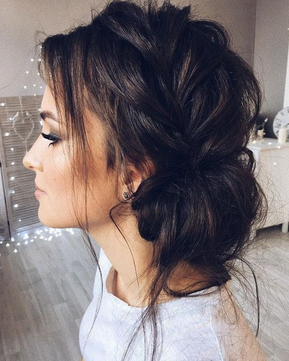 Beautiful Updo With Side Braid Wedding Hairstyle For Romantic Brides