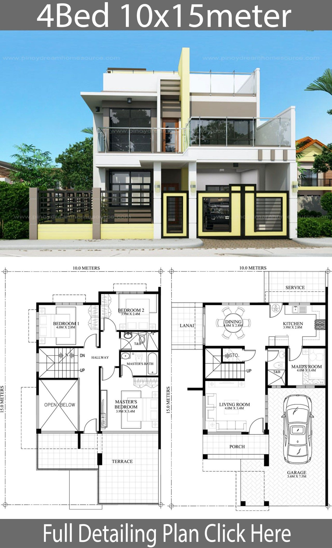Home Design Plan 10x15m With 4 Bedrooms Home Ideas Home Design Plan House Blueprints 2 Storey House Design