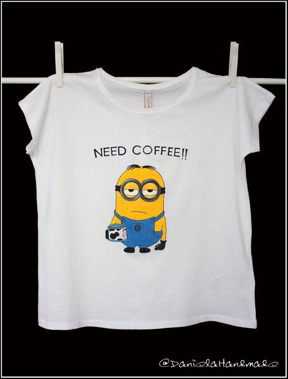 589f66301 Hand painted minion Tshirt Need coffee Free by danielahandmade, €20.00