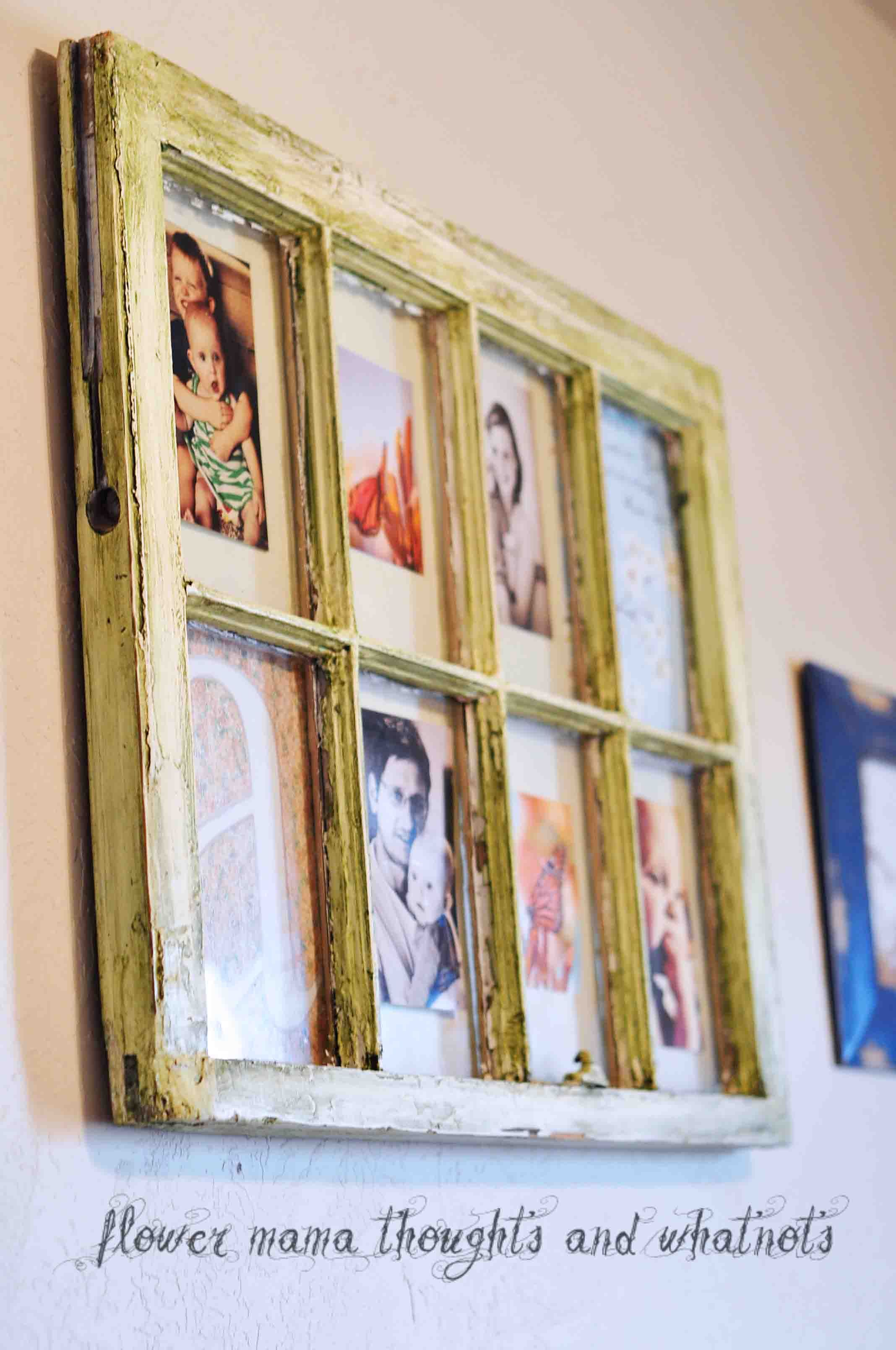 Distressed Repurposed Window Frame Into Art And Photo Collage Old Window Crafts Window Crafts Comfy Cozy Home