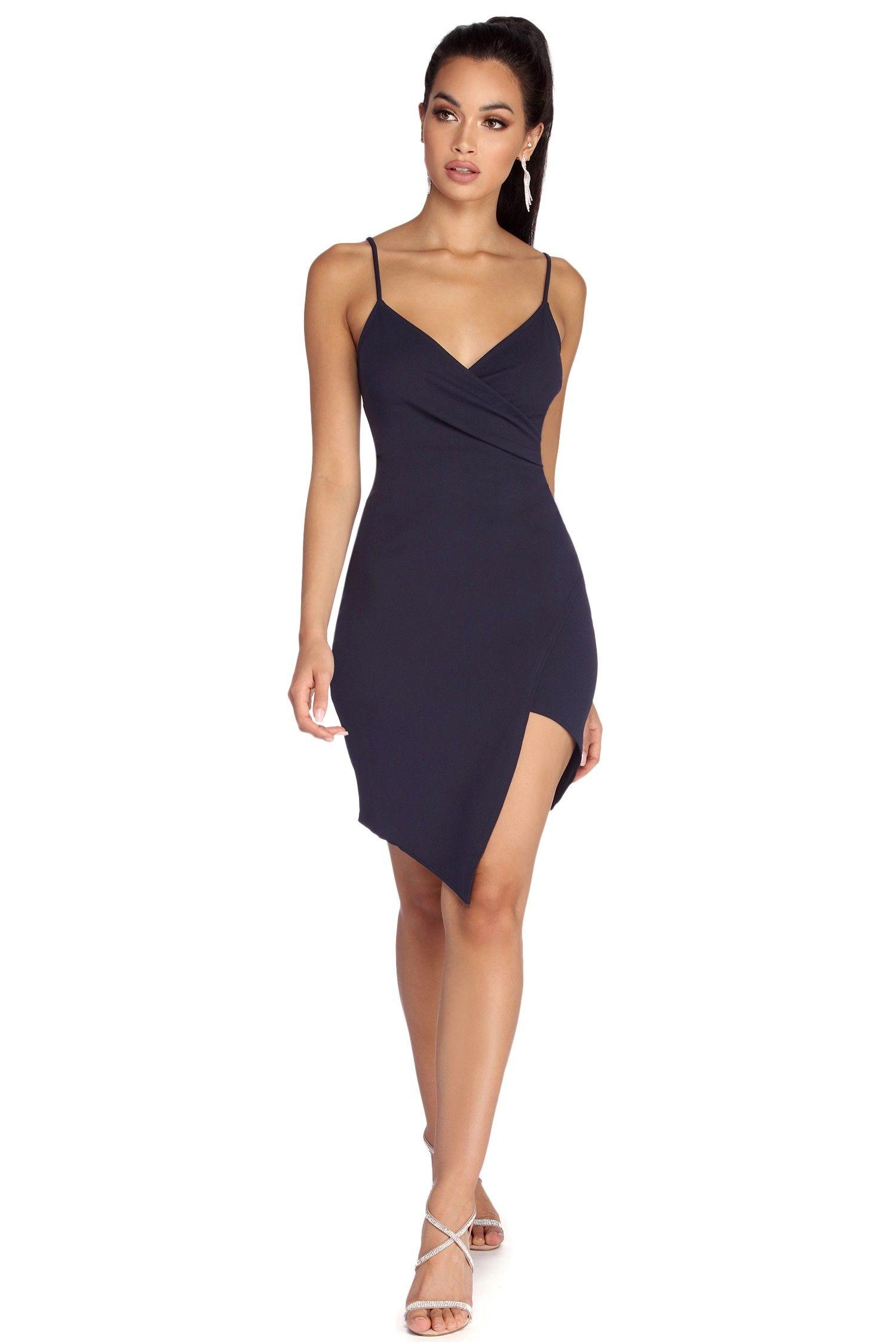 Navy blue hot stuff asymmetrical dress formal dresses