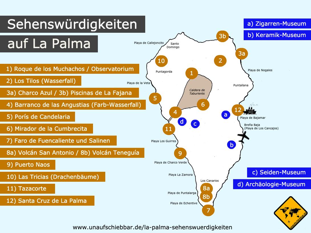 La Palma Sehenswurdigkeiten Top 12 Karte In 2020 Palma Sehenswurdigkeiten Sehenswurdigkeiten Kanarische Inseln