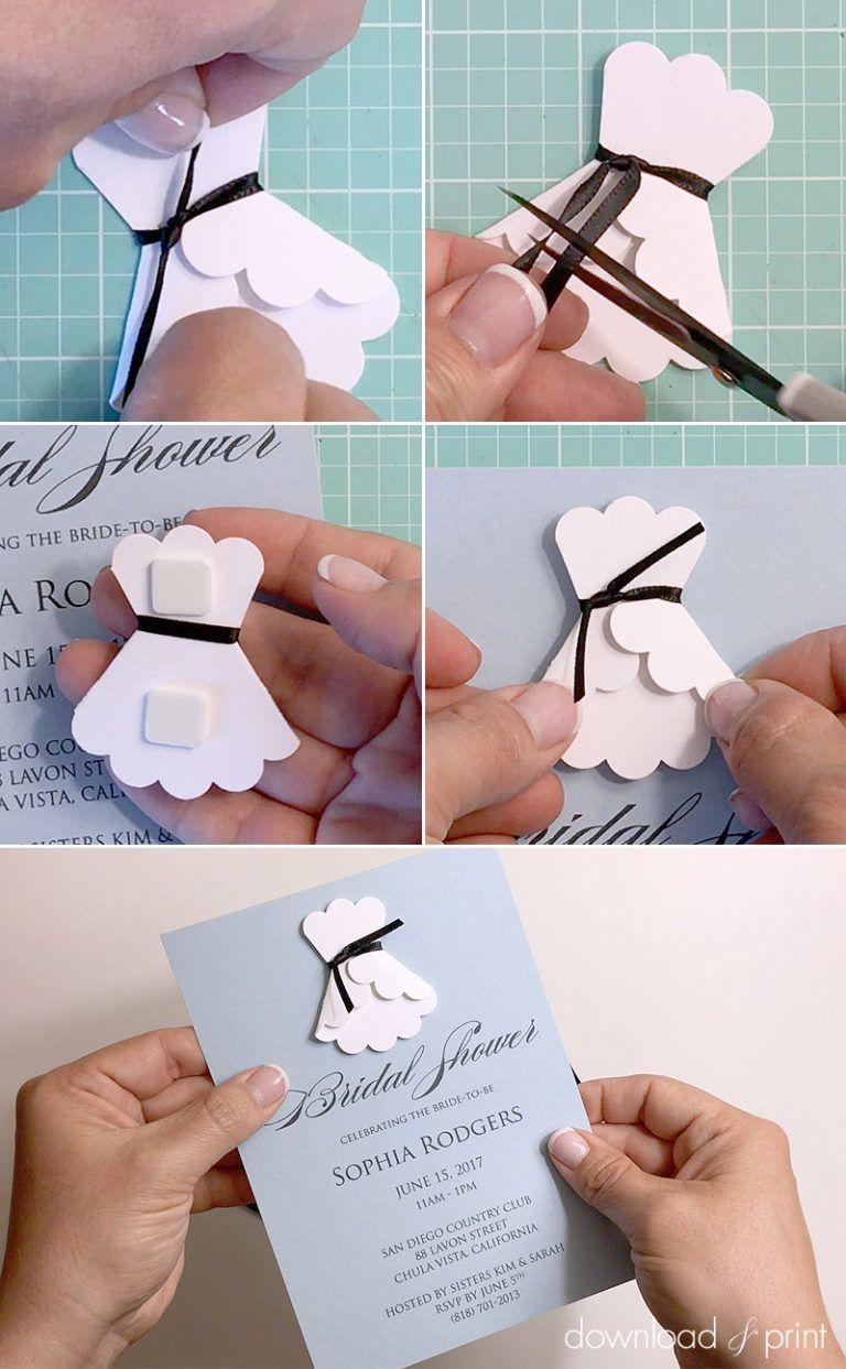 3d Paper Wedding Dress Shower Invitation Bridal Shower Invitations Diy Bridal Shower Cards Shower Invitations Diy
