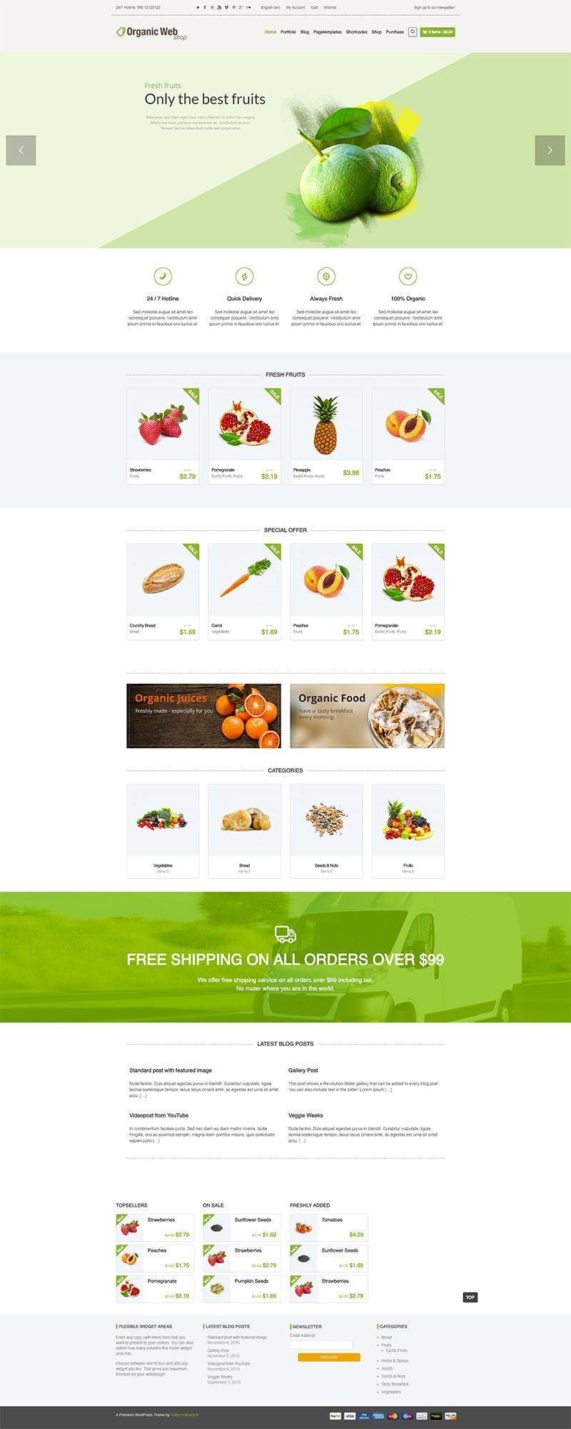 20 Best Organic Food And Restaurant Wordpress Themes Wpklik Organic Recipes Restaurant Wordpress Themes Best Fruit Juice