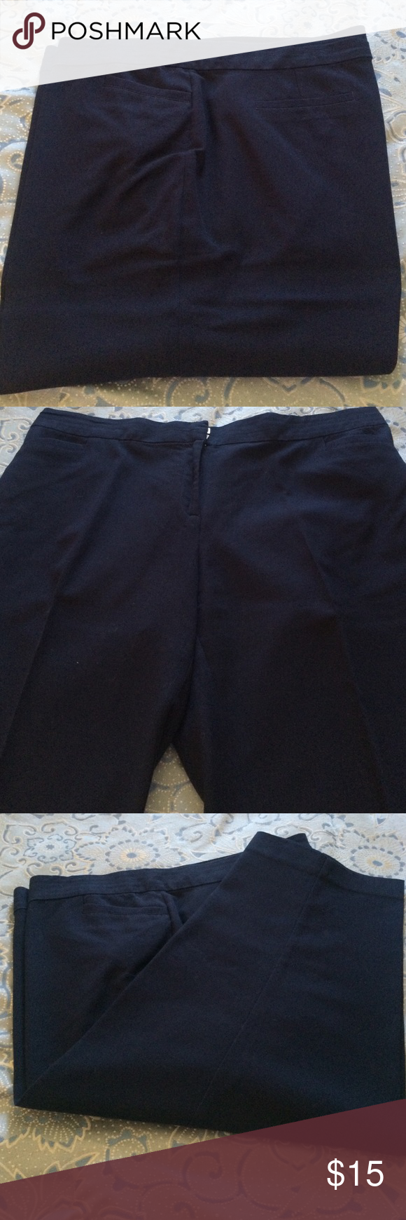 Navy Blue Carpis Navy Blue capris from Avenue. Never washed only dry cleaned. Excellent condition. Slight running between the legs but not worn thin. Avenue Pants Capris