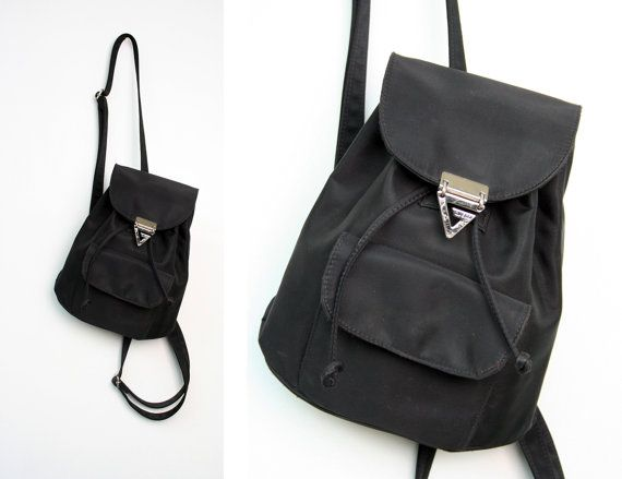 Vintage GUESS Drawstring Black Nylon Small Backpack Purse | Small ...