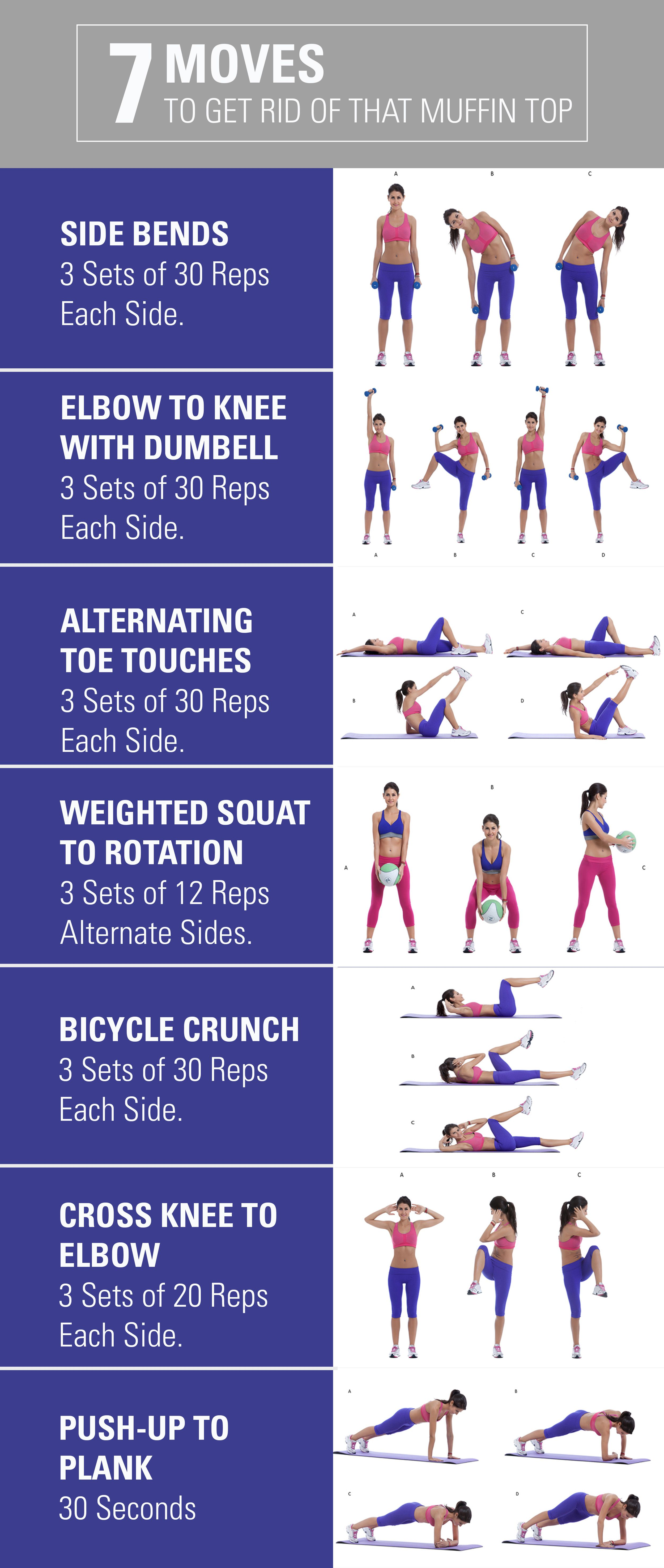 11 Moves To Get Rid Of A Muffin Top  Fitness motivation body